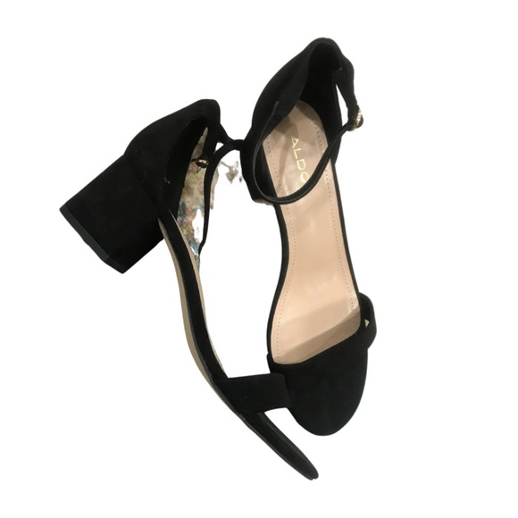 Aldo black low heels, block heel.